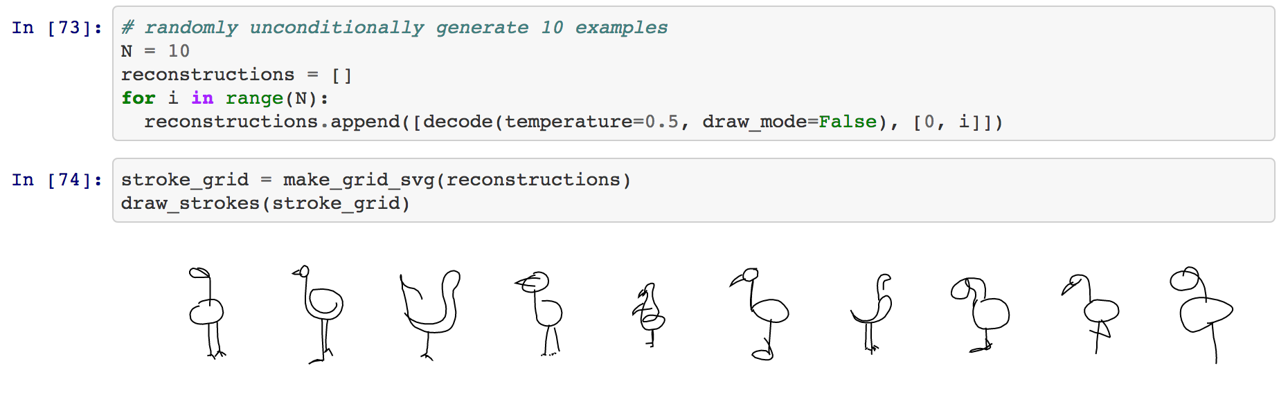 Some generated flamingos from the Jupyter notebook
